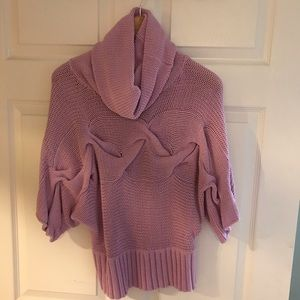 Cowl Neck 3/4 Sleeve Lavender Sweater
